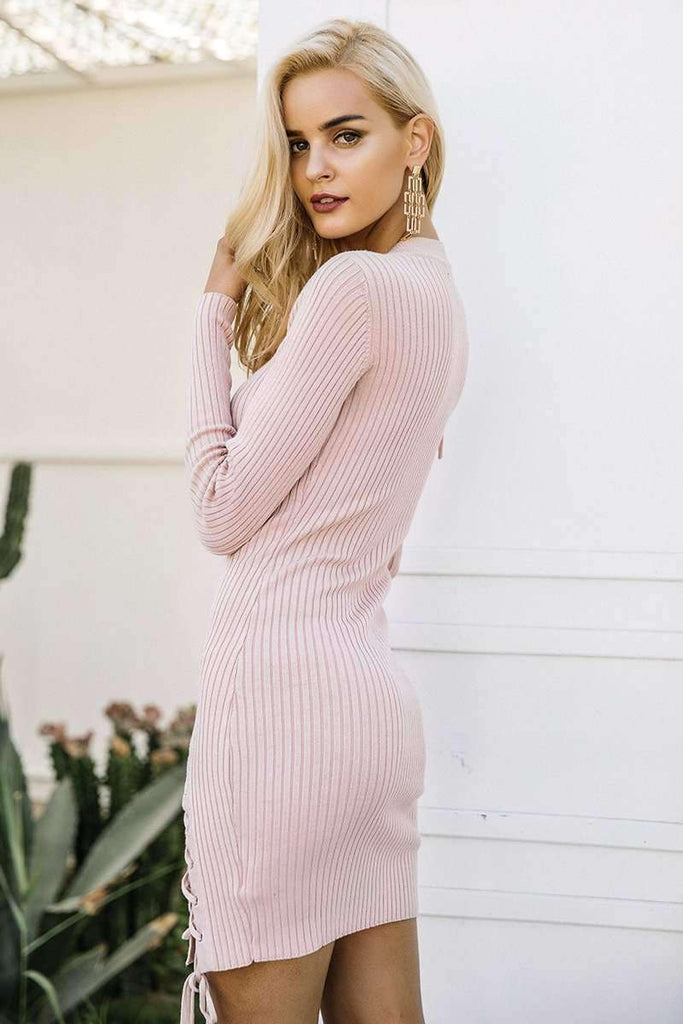 Lace up skinny knitted sweater dress - sale44
