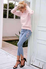 Bird floral embroidery jeans calf length pants - sale44