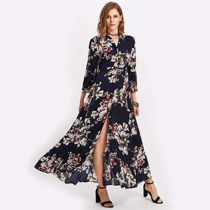 Flower Print Hidden Placket Dress - sale44