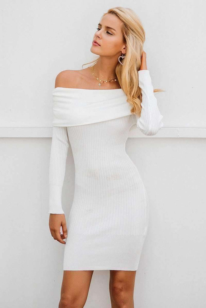 Off shoulder knitting sweater dress - sale44