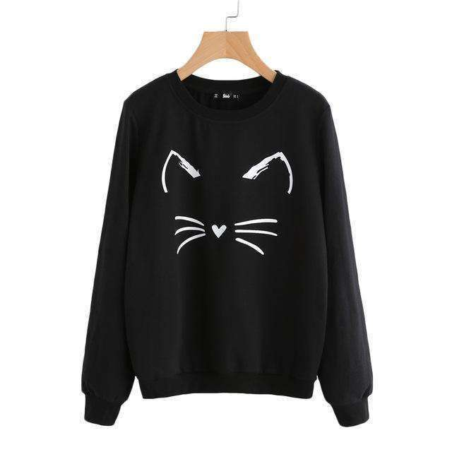 Cartoon Cat Print Sweatshirt - sale44