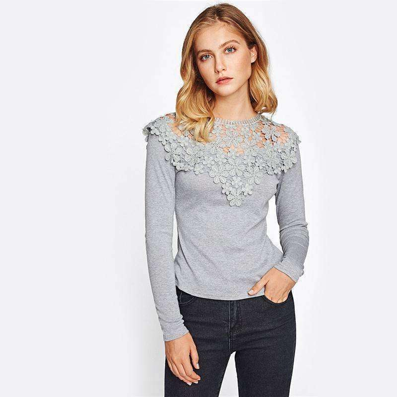 Guipure Lace Yoke Slim Fit Heathered Tee - sale44