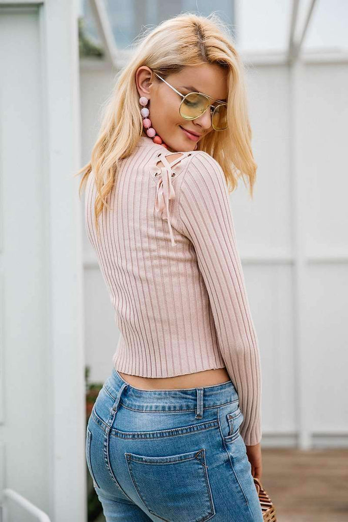 Sexy cold shoulder lace up sweater Casual - sale44