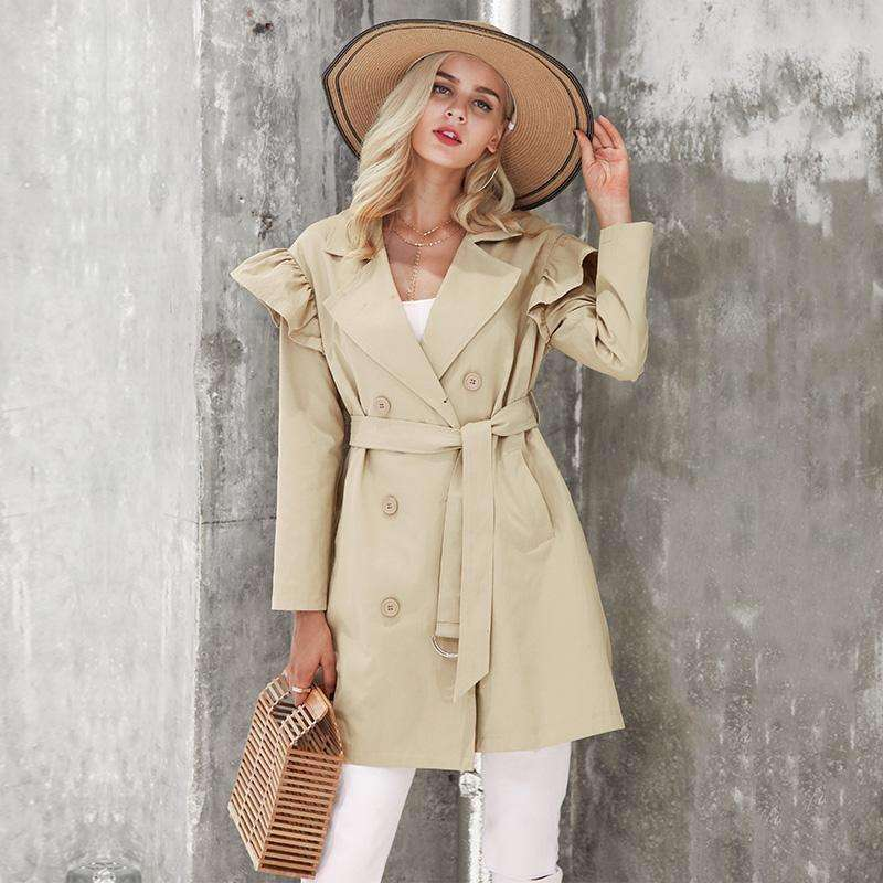 Ruffle trench coat outerwear - sale44