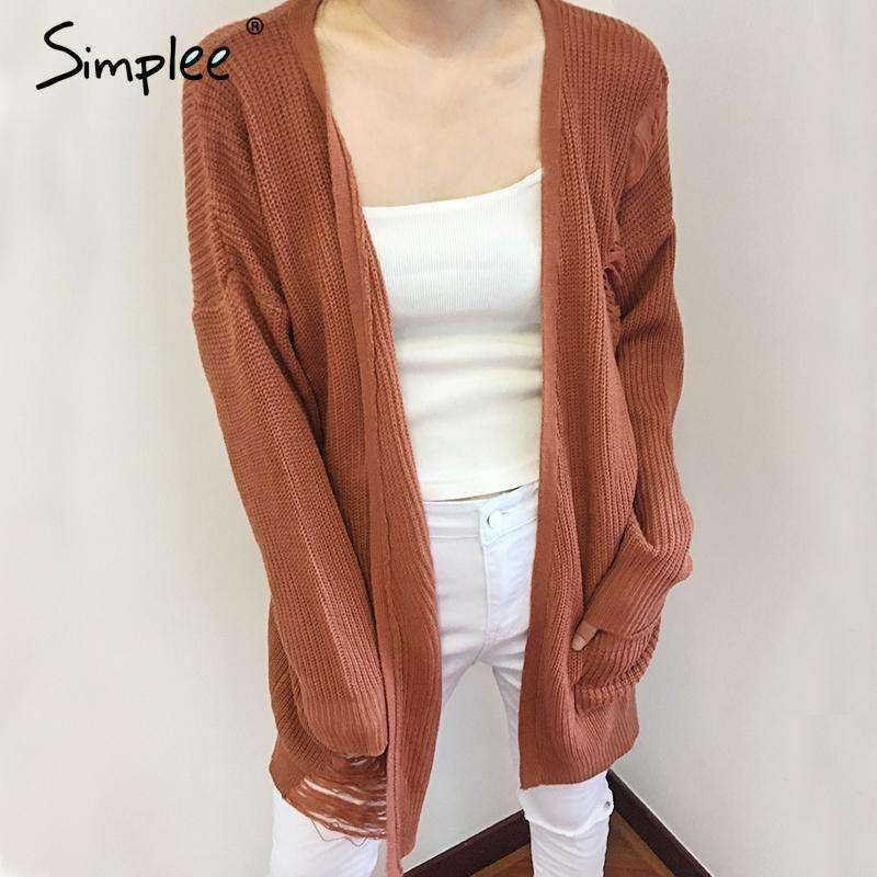 Elegant knitting long cardigan sweater - sale44