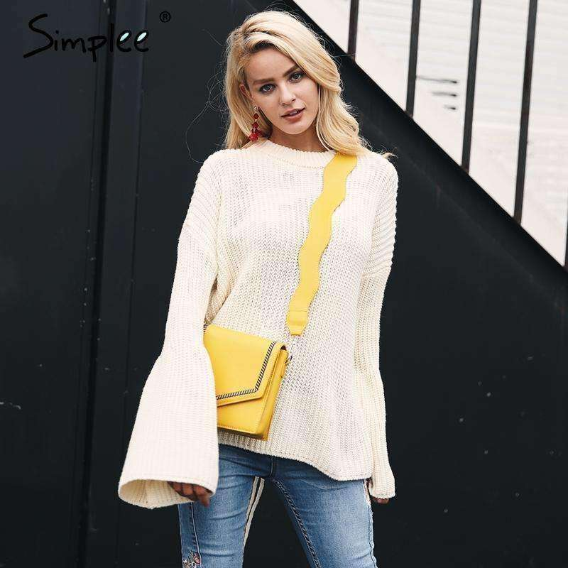 Lace up flare sleeve knitted sweater - sale44