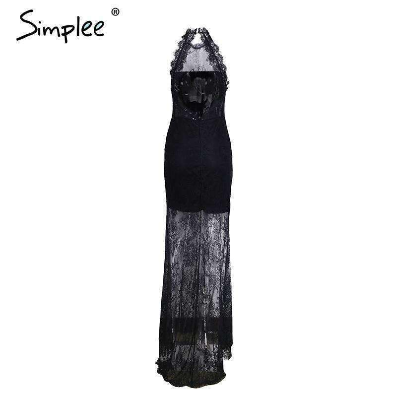 Elegant halter black lace dress - sale44