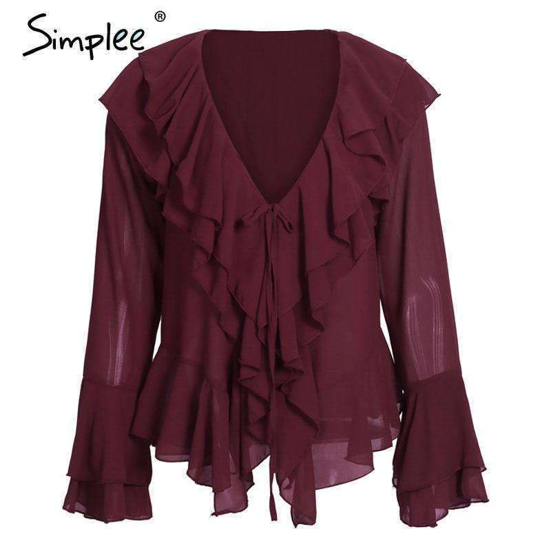 Sexy ruffle chiffon blouse shirt Autumn - sale44