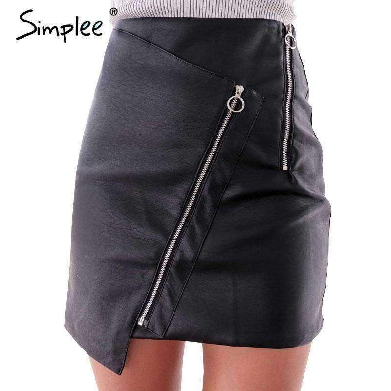 Vintage high waist zipper leather skirt - sale44