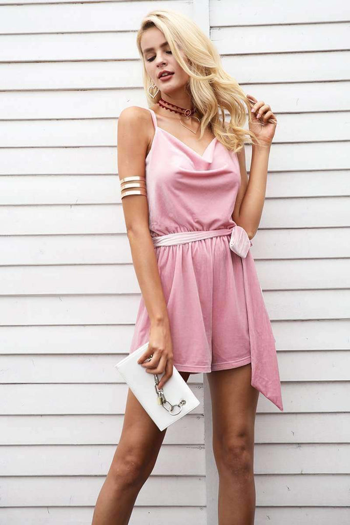 Casual V Neck Sashes Short Jumpsuit - sale44