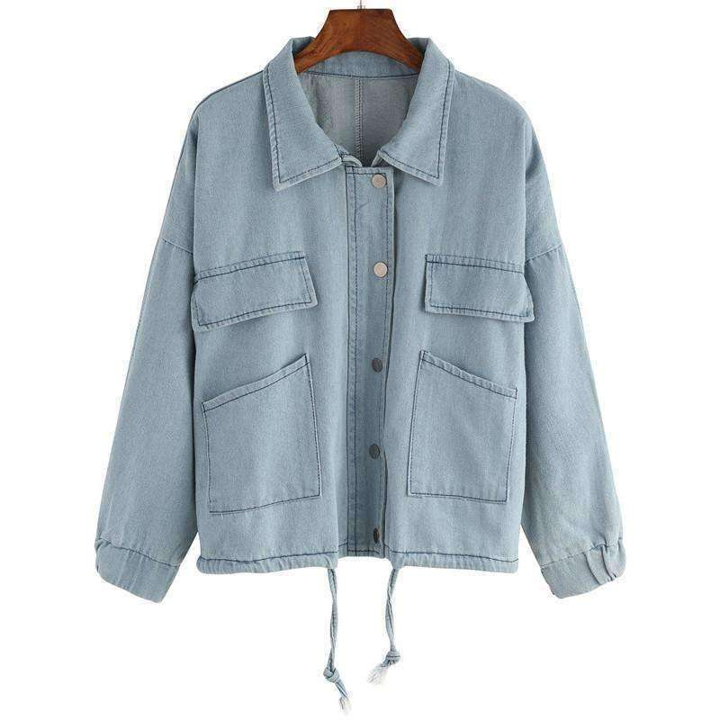 Hooded Drawstring Denim Two Pieces Outerwear - sale44