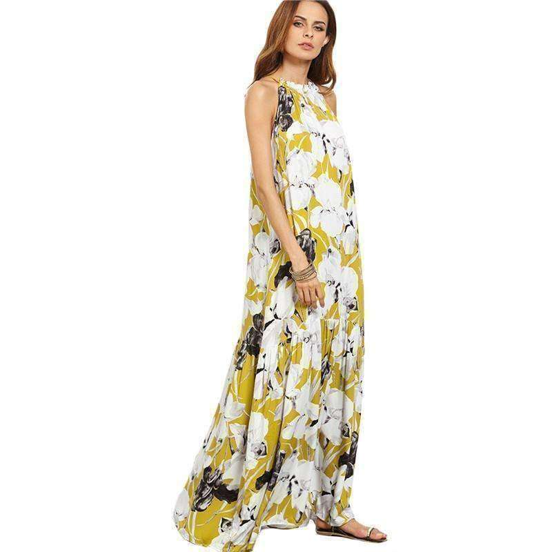 Flower Print Halter Neck Full Length Beach Dress - sale44
