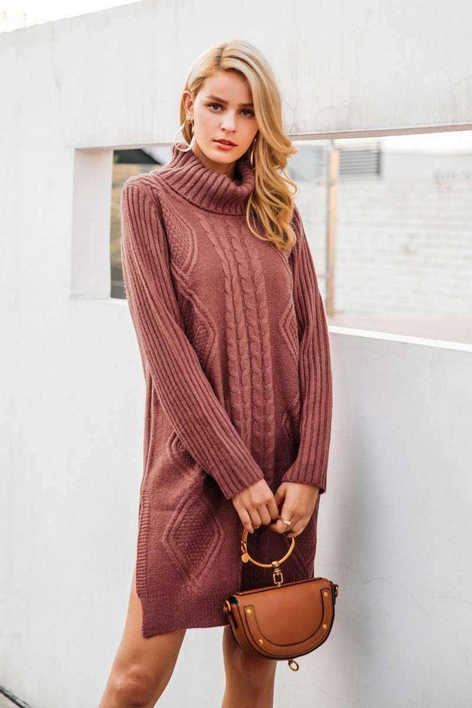 Turtleneck High Split Knitting Pullover - sale44