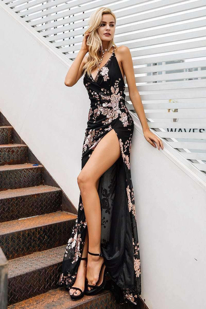 Sexy Lace Up Halter Sequin Party Dresses - sale44