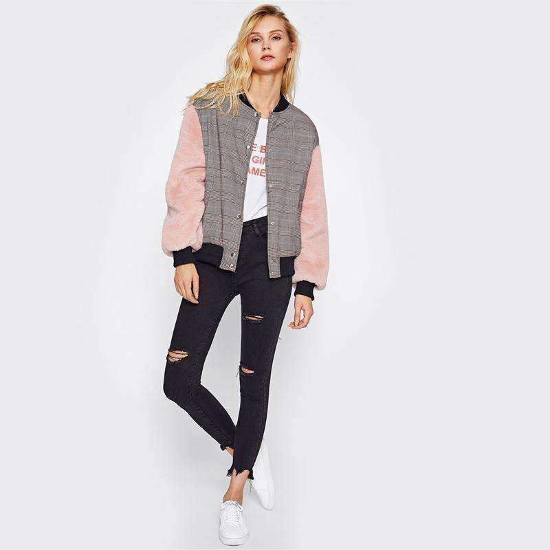 Fuzzy Sleeve Drop Shoulder Mixed Media Jacket - sale44