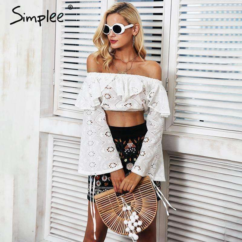 Sexy off shoulder ruffles hollow out blouse - sale44