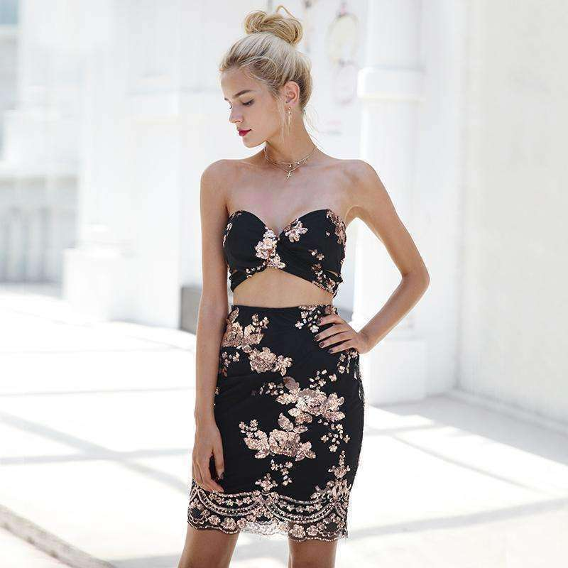 Sequined mesh cropped sexy dress - sale44