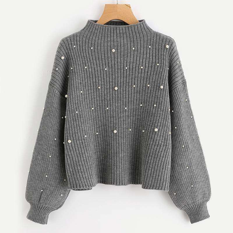 Pearl Beaded Rib Knit Jumper - sale44