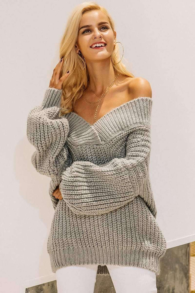 Winter Warm V Neck Knitted Sweater - sale44