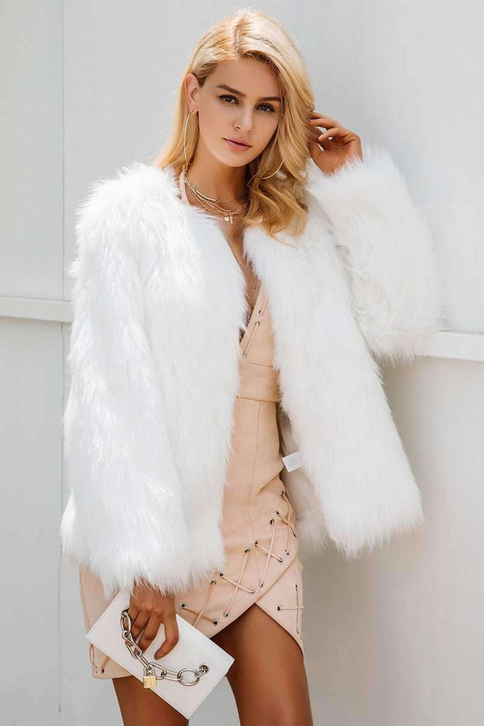 Casual furry faux fur coats Fake fur coat - sale44
