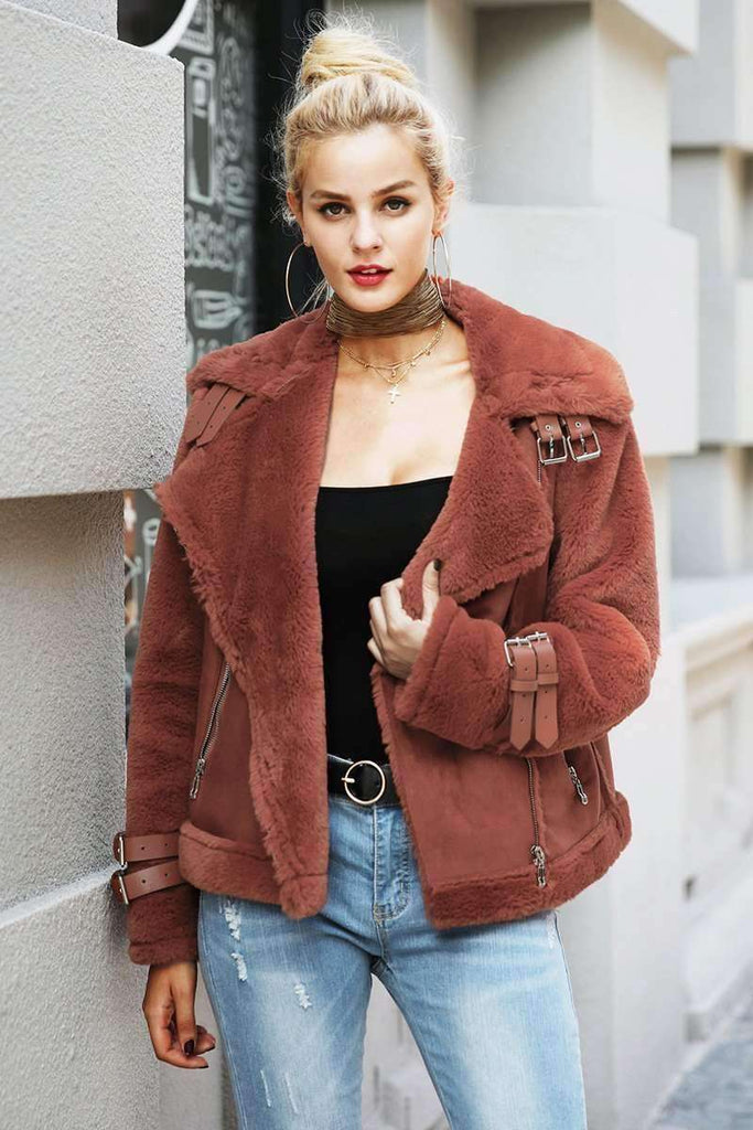 Faux leather suede lamb fur jacket coat - sale44