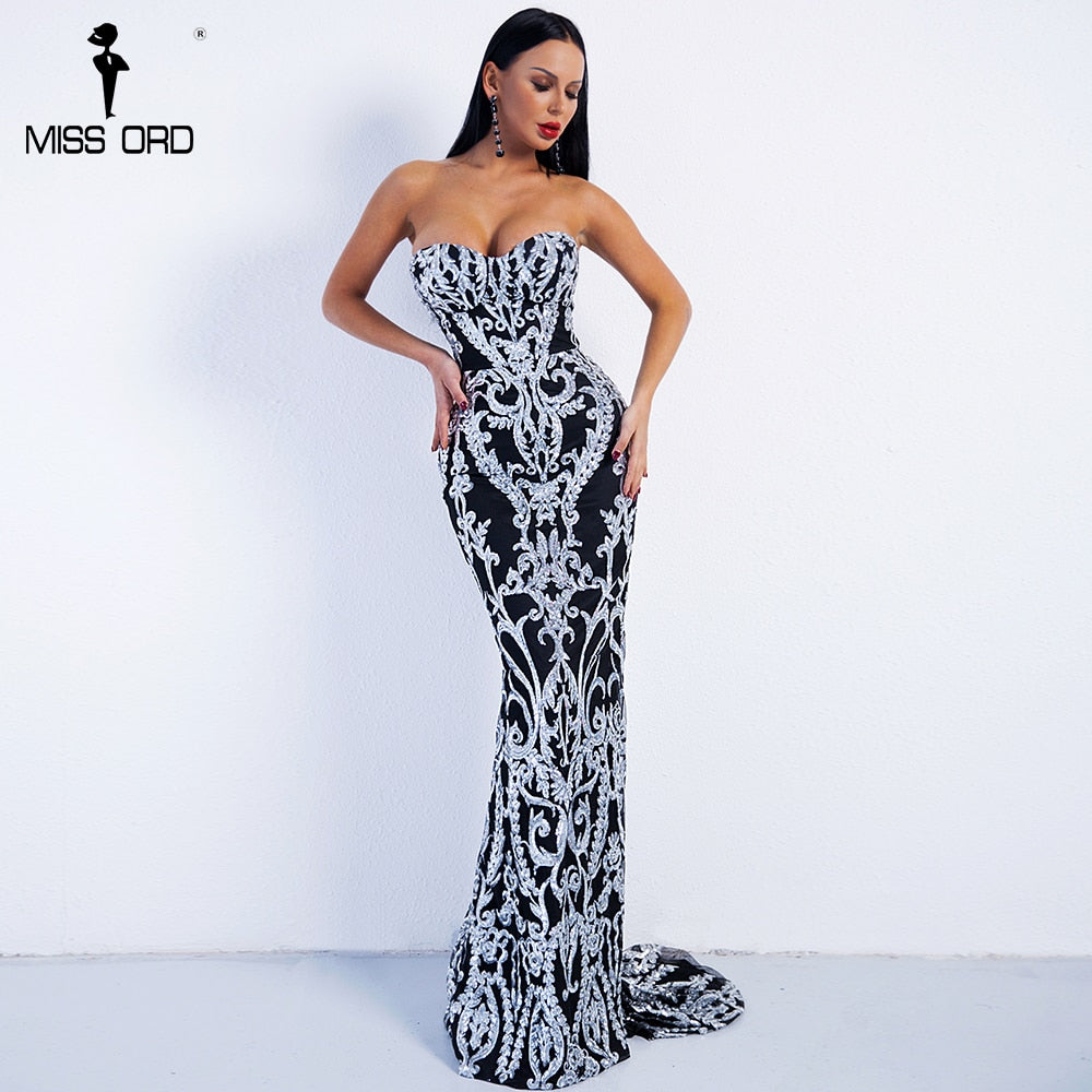 Missord 2018 Sexy New Bra Off Shoulder Retro Geometry Sequin Female  Dresses  Floor Length Party Elegant Dress Vestdios FT8888-2