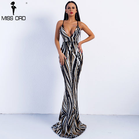 Missord 2018 Sexy Graceful V Neck Off Shoulder  Sequin Dresses Female Maxi Party  Dress Vestidos  FT8927