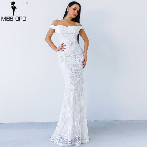 Missord 2018 Sexy Bra Elegant Female Dresses Geometry  Sequin Maxi Party Dress Vestdios FT4912-3
