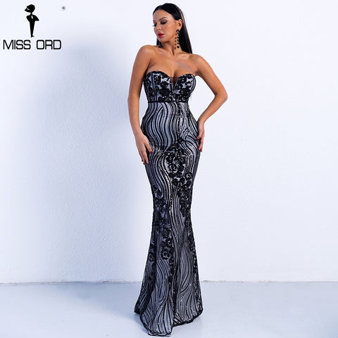 Missord 2018 Sexy Spring and Summer Off Shoulder Sequin Dresses Female Backless Elegant Maxi Dress Vestdios  FT9002