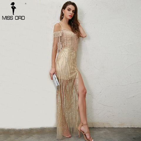 Missord 2018 Sexy  Off Shoulder Tassel High Split Glitter Maxi Gold Elegant Dress FT8599