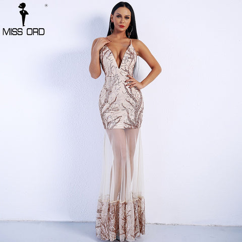 Missord 2018 Sexy Summer Deep V  Sequins Evening Elegant Party Dresses Female Embroidery Mesh Maxi Dress Vestdios  FT8992
