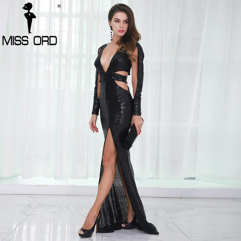 Missord 2018 Deep V Long Sleeve Sequin Hollow Out Split Maxi  Dress FT8576