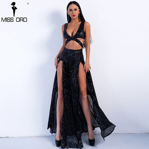 Missord 2018 Sexy Hollow Out Off Shoulder Sequin  Two Split Women Summer Maxi Party Dress FT8399-2