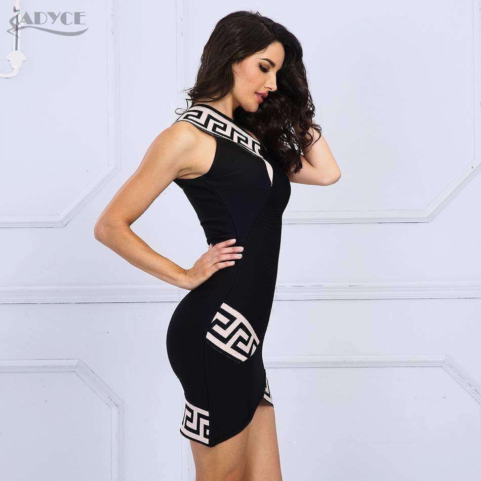 Party Dresses Vestidos Sexy One Shoulder Geometric Print Black Dress - sale44