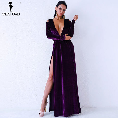 Missord 2017 Sexy deep V Neck  long sleeve  high split  Women Elegant Dress  Dress  FT9367