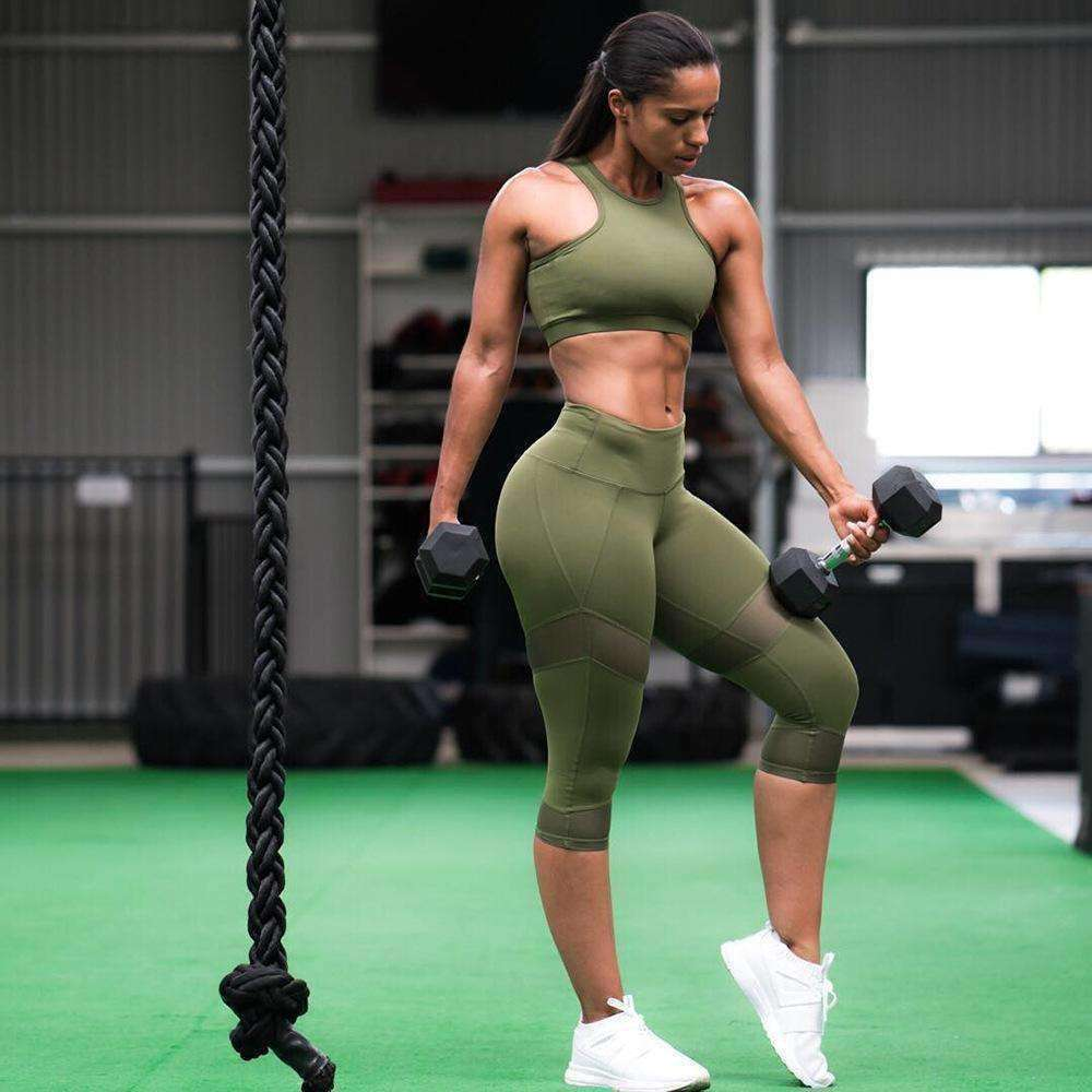 Green Fitness Suit Set Femme Sportwear Girl Tracksuits - sale44