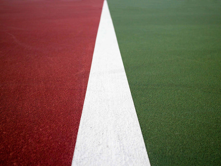 Closeup of tennis court lines