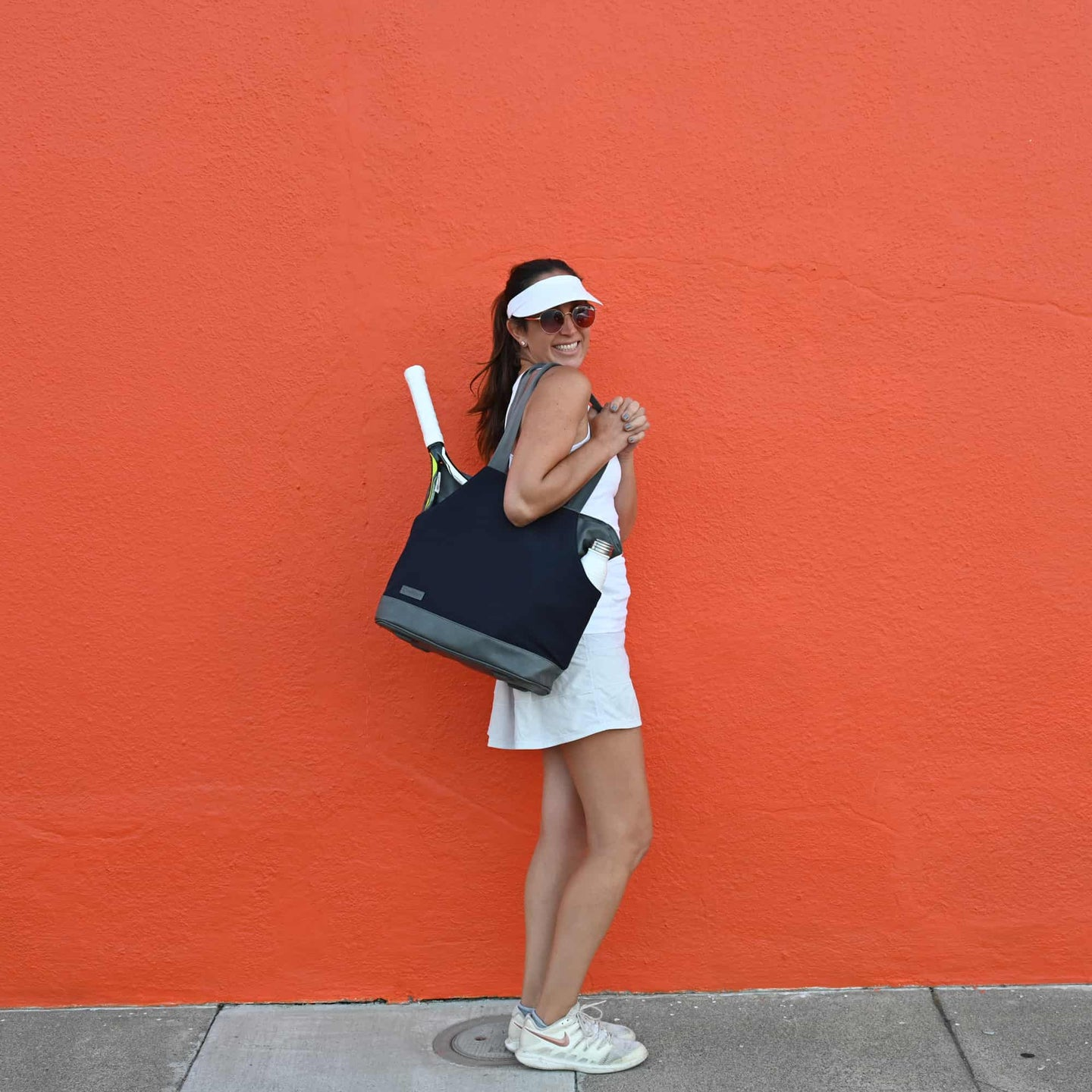 Doubletake tennis bag tote and convertible backpack blue and orange