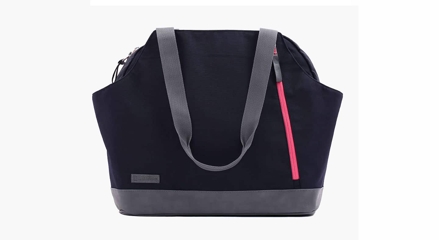 Doubletake tennis duffel bag in navy blue and watermelon pink