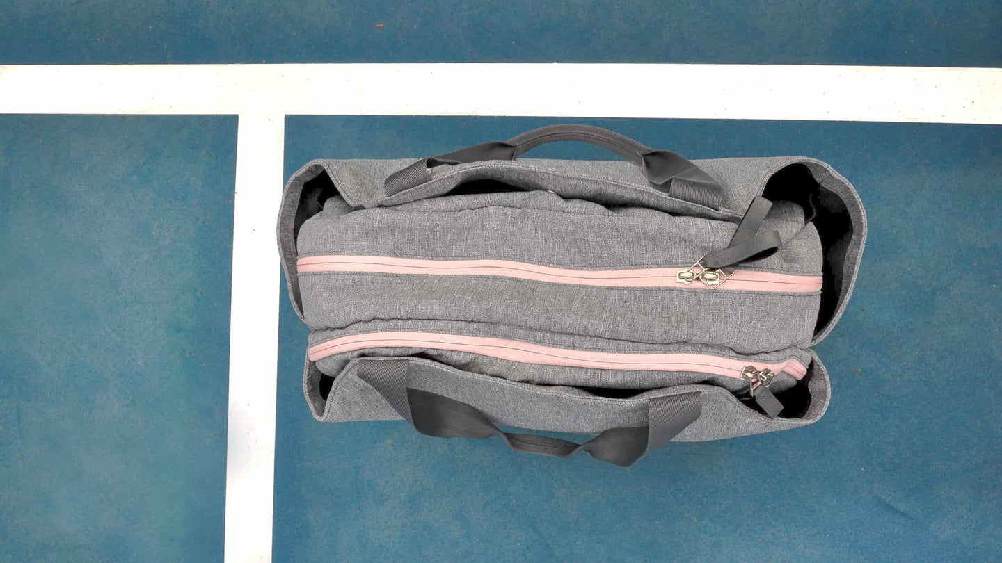 Doubletake tennis duffel bag in heathered grey and pink blush
