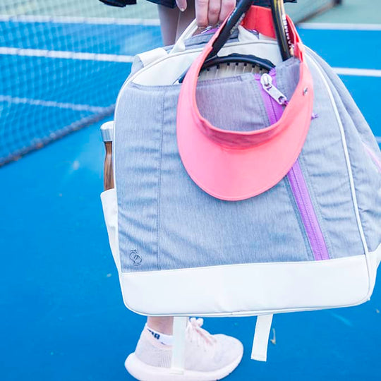 Doubletake tennis bag and tote converts to backpack grey and pink
