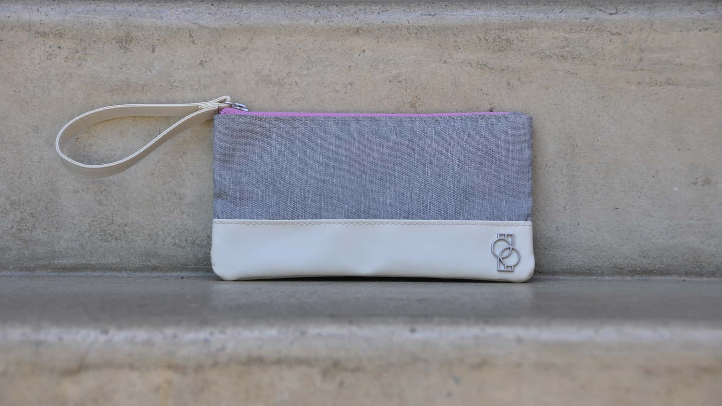 Doubletake tennis accessory bag in grey and lilac