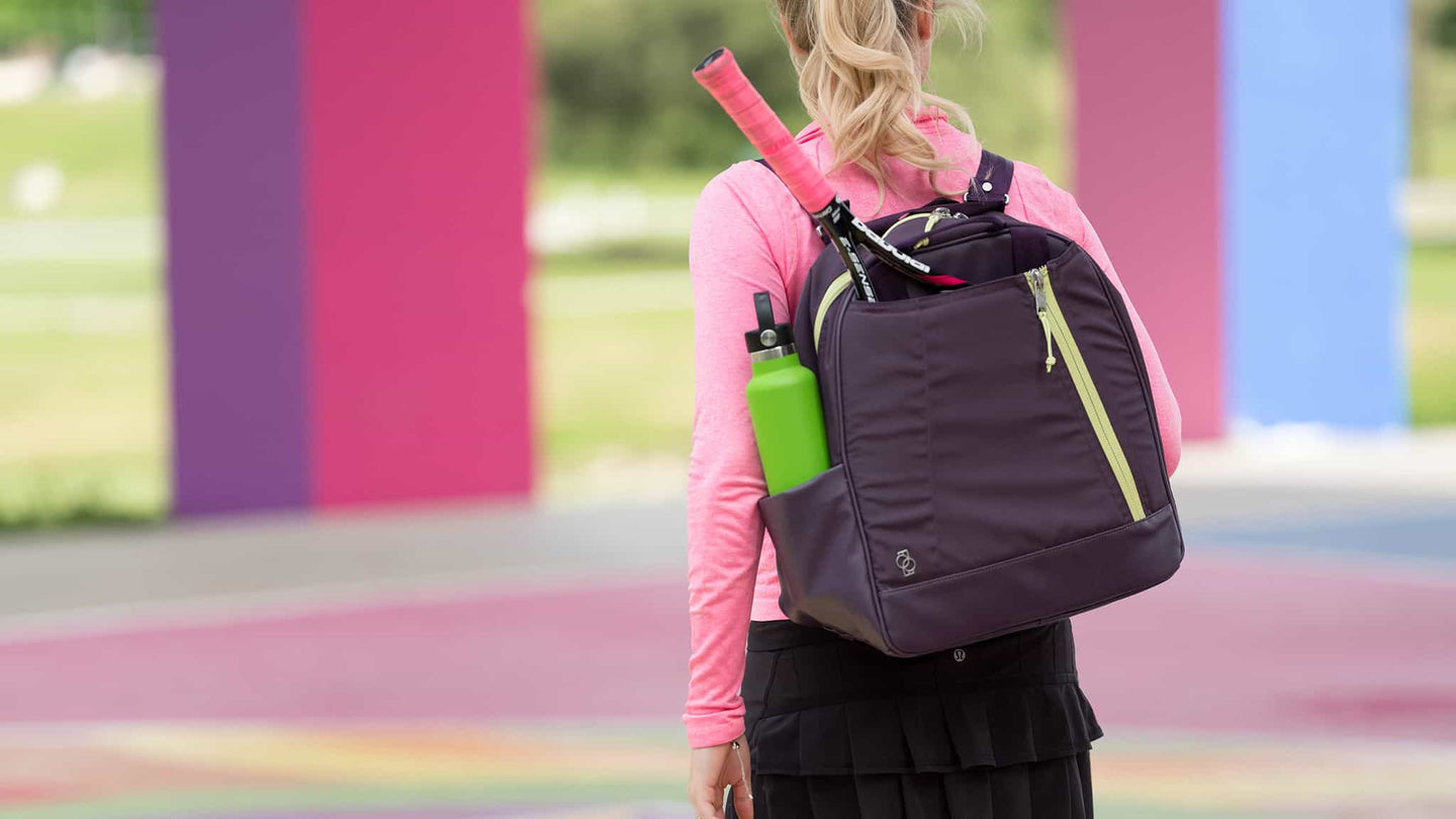 Doubletake tennis bag and tote plum and lime