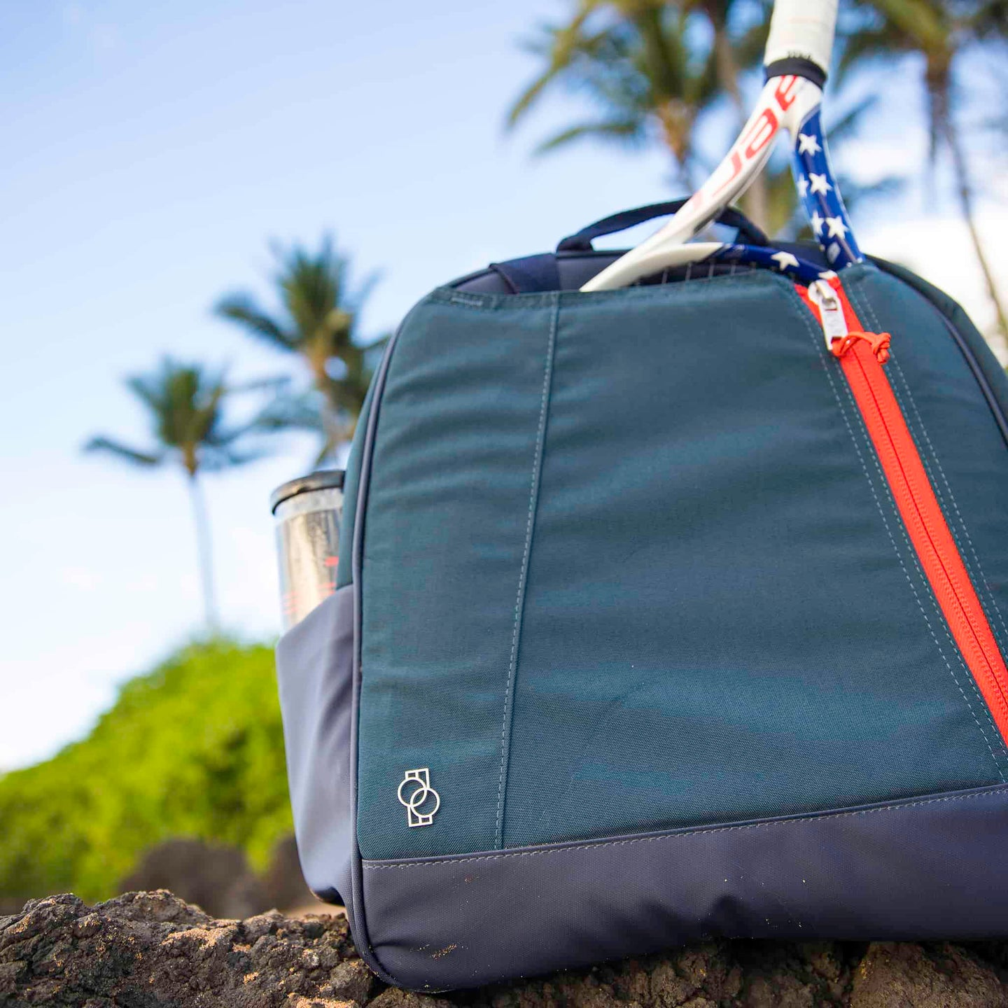 Doubletake tennis bag and tote blue and persimmon in Hawaii