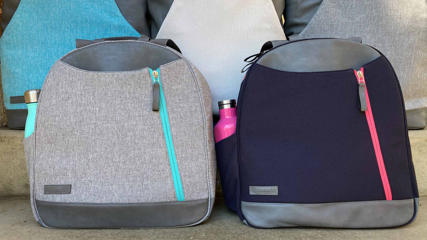 Heather grey and teal blue with navy and bright watermelon pink Doubletake tennis backpacks with matching water bottles