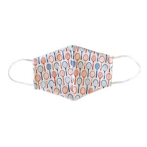 Blue and red tennis racquet print mask.