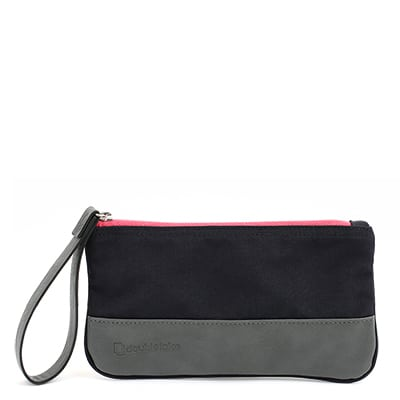 Doubletake wristlet in navy and watermelon
