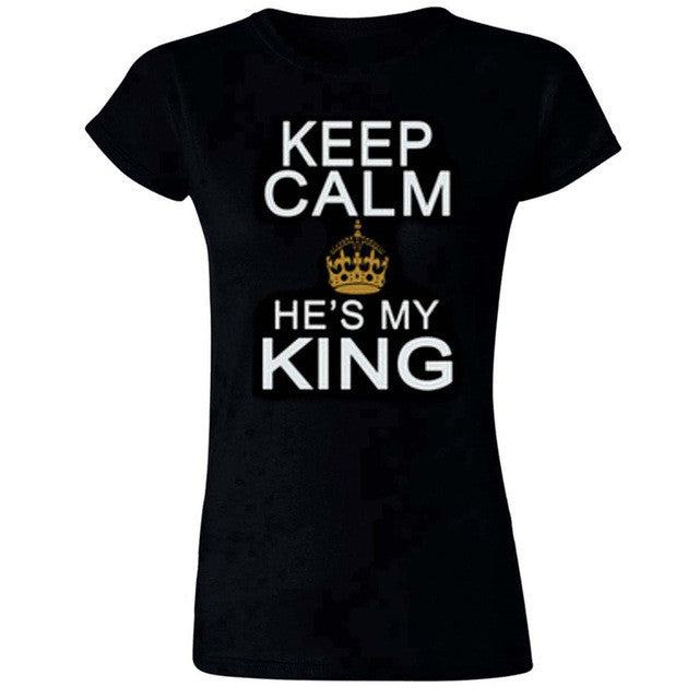 Valentine Shirts Woman 100 Polyester King Queen Letter Print
