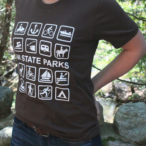Peninsulas I MI State Parks T-Shirt - Brown