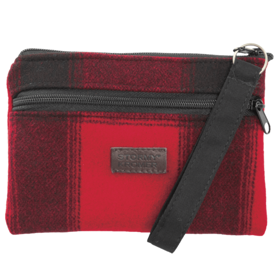 Red / Black Plaid Wool Wristlet